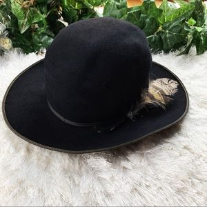 Vintage Open Range Black Felt Cowboy Hat w/Feather